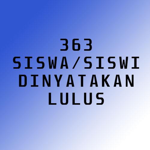 Sebanyak 363 siswa/siswi dinyatakan LULUS